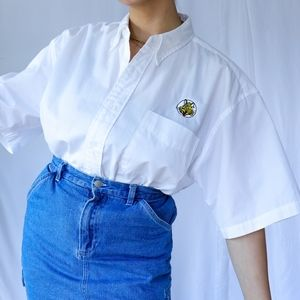 White short sleeves oversized button up shirt